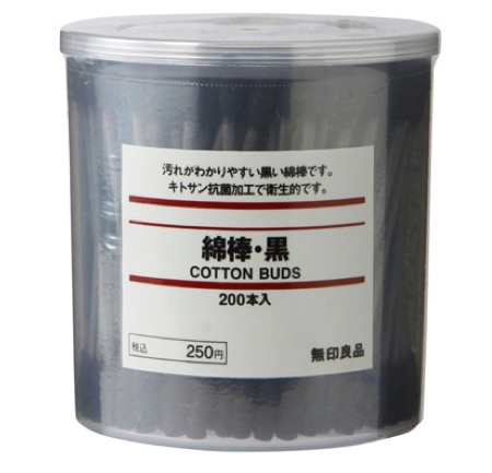 Muji Black Cotton Swabs