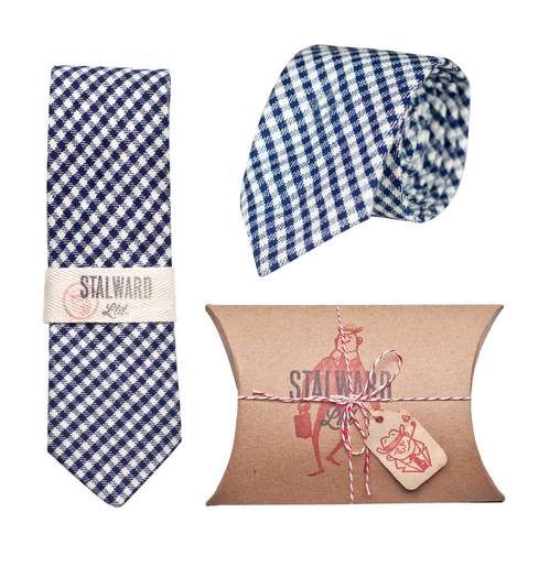 Heavy Navy Gingham Tie by Stalward Ltd.